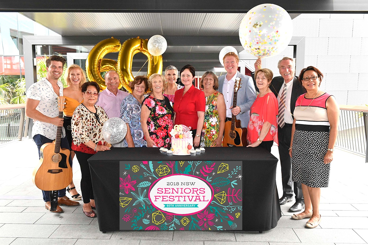 60th Seniors Festival with Minister for Ageing Tanya Davies, Expo Ambassadors, Susie Elelman and Frank Ilfield, Premier's Gala Concerts performers, Darren Coggan and X Factor finalists Jess & Matt and NSW Seniors