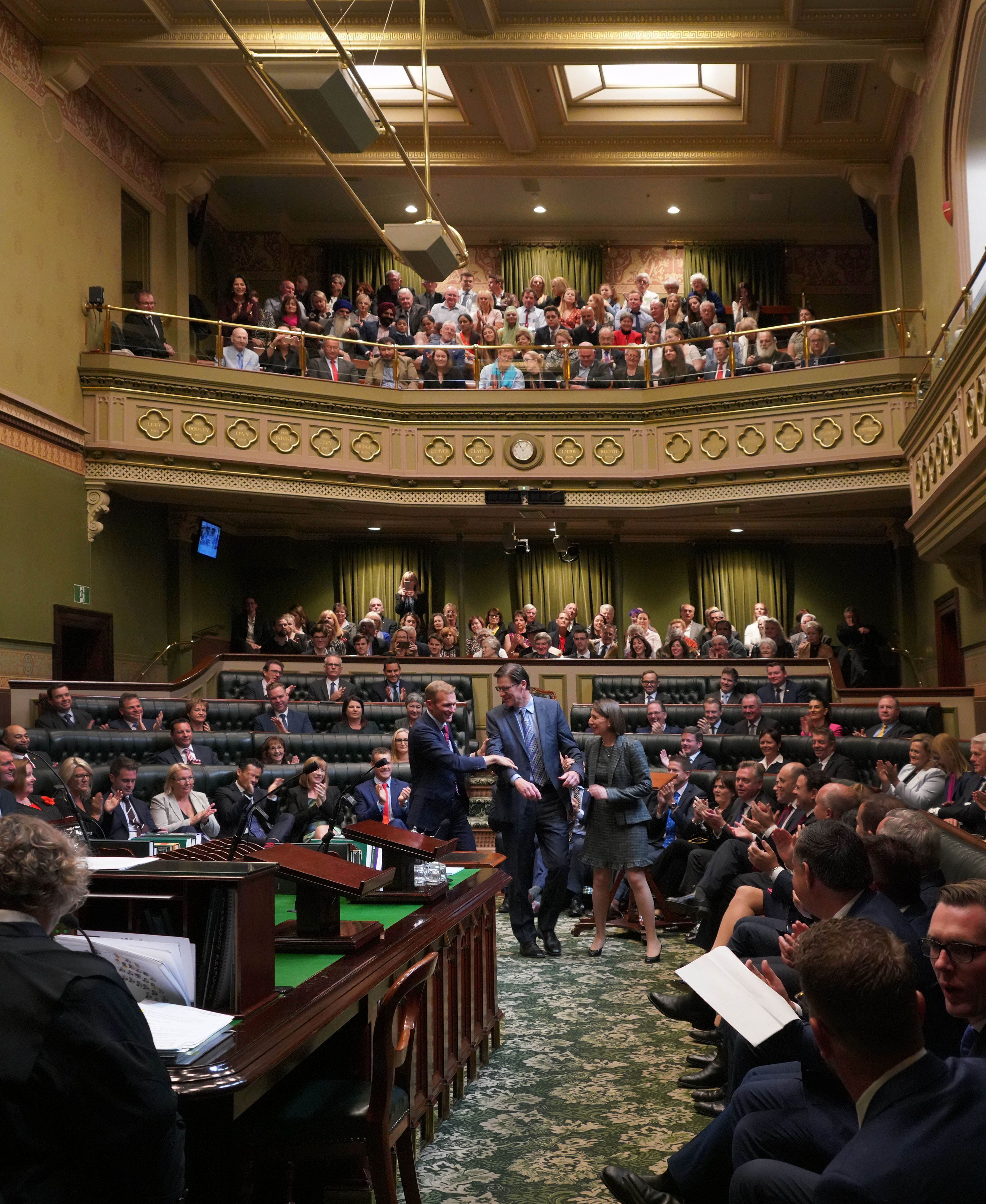 Jonathan O'Dea, the new Speaker of the NSW Legislative Assembly,dragged into service 7 May 2019 by Premer and Minister Stokes