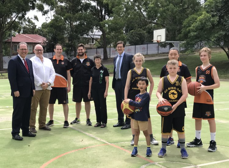 Jonathan O'Dea MP and Alister Henskens MP welcome a new Indoor Sports Centre at St Ives High School with Local Basketball Representatives