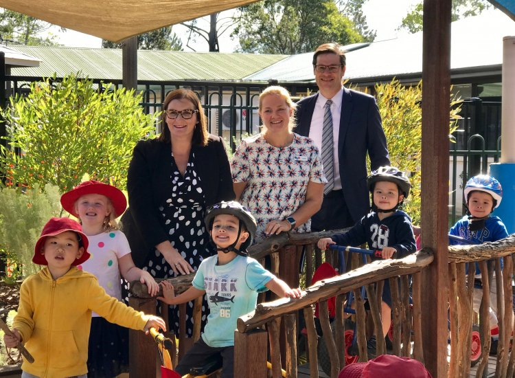 Launching the NSW Government Ngroo Walking Together program at Christ Church St Ives Preschool, with Minister for Early Childhood Education and Aboriginal Affairs, Sarah Mitchell, and Early Childhood Educator Lauren