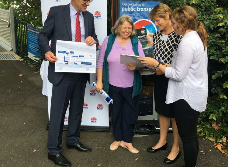 Jonathan O'Dea, Member for Davidson, discusses plans to upgrade accessibility at Roseville Station with local Jo Hudson and the Transport for NSW Engagement Team