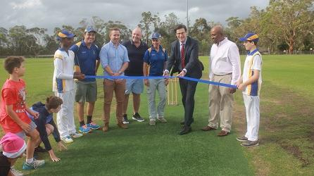 St Ives Junior Cricket ribbon cutting ceremony for the opening of the Hassall Park Centre Wicket refurbishment